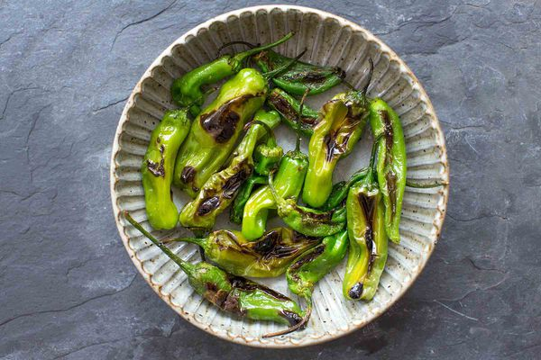 Blistered Shishito or Padron Peppers in a bowl