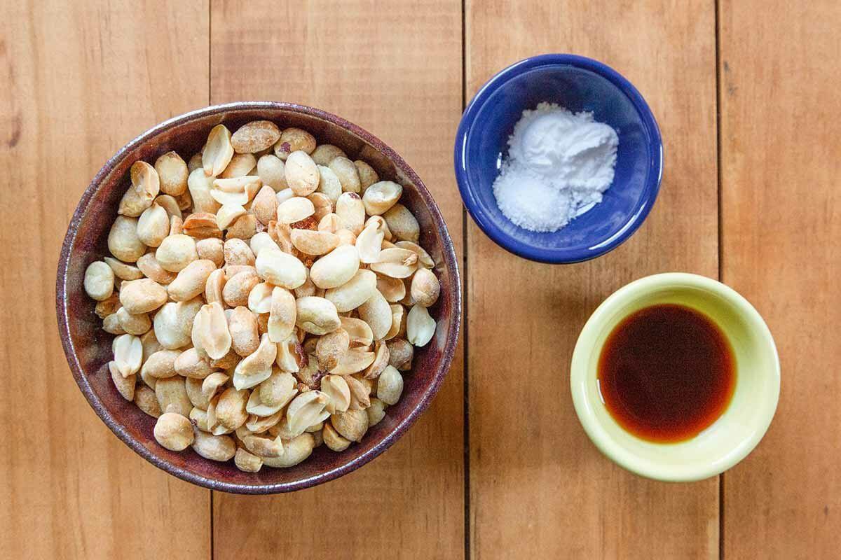 How to Make Peanut Brittle prep the peanuts vanilla and salt