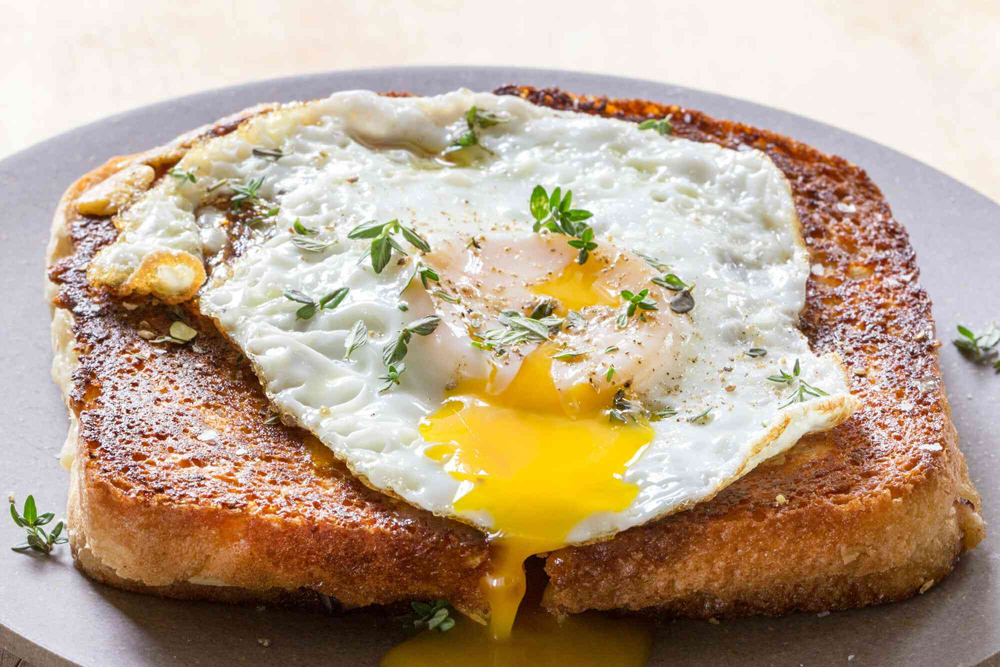 Classic Croque Madame Ham and Cheese Sandwich