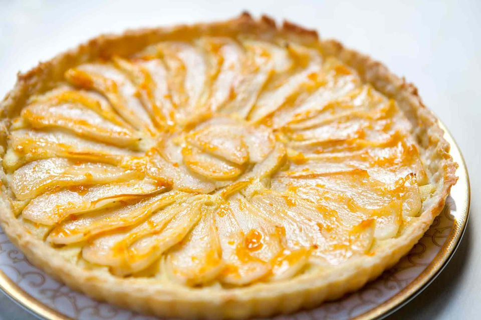 pear tart with almond paste and apricot glaze