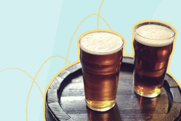 Photo composite of two glasses of beer on a round wooden table.