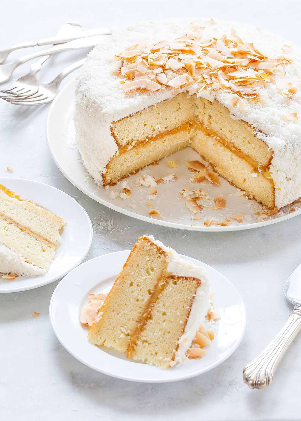 Coconut Cake with Lemon Curd and Vanilla Buttercream