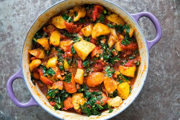 Roasted Root Vegetables with Tomatoes and Kale