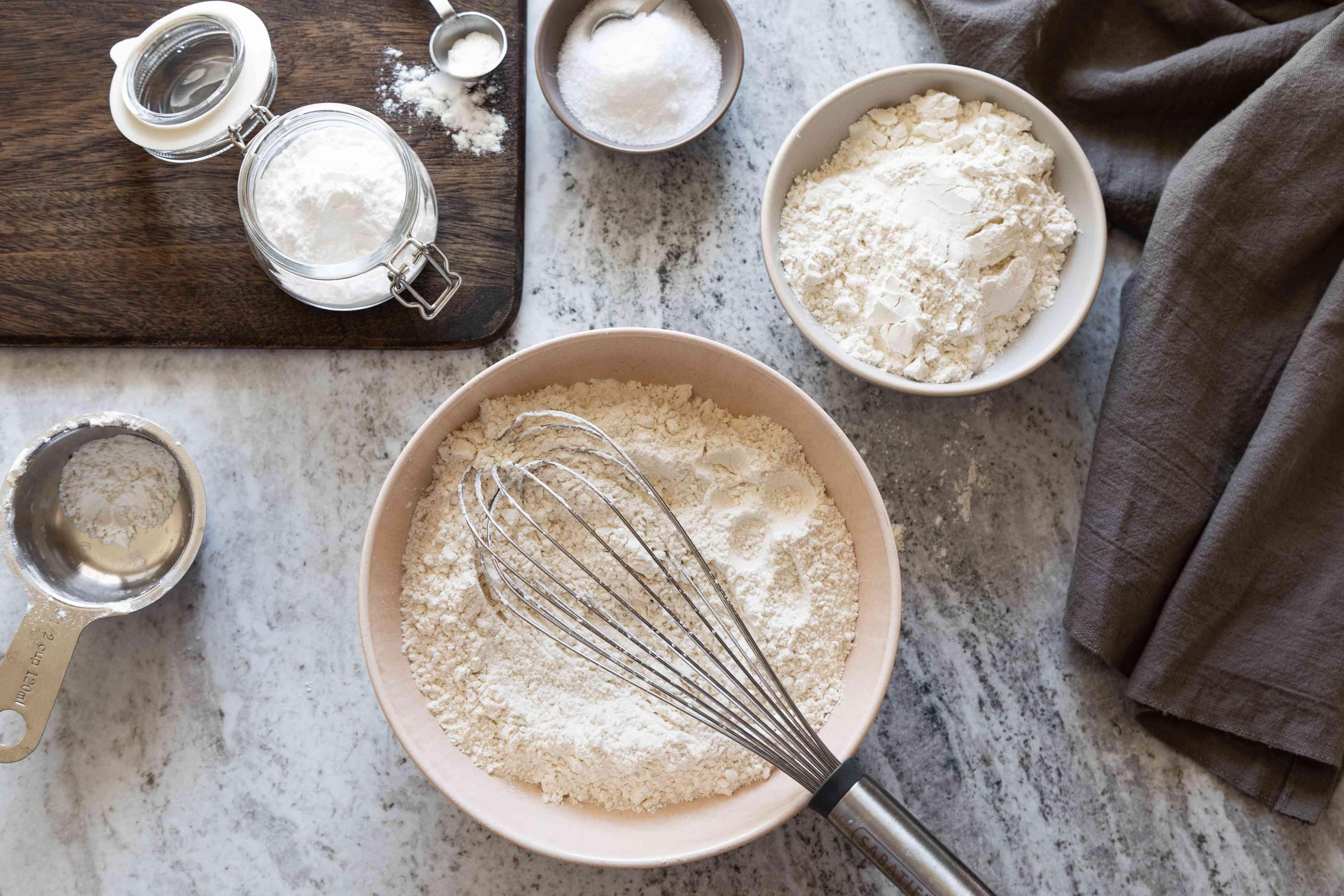 Bowls of flour baking soda salt self-rising flour recipe