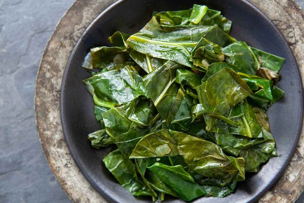 Best ever collard greens cooked on the stovetop and served in a bowl