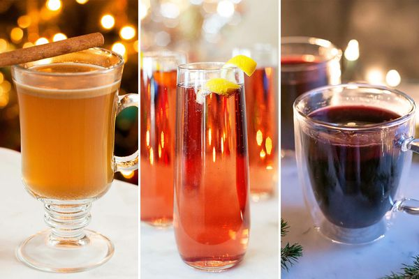 Three photos side by side. To the left is a glass mug of Hot Buttered Rum, in the center are three flutes of Chamb' and Bubbly. To the right is a glass mug of hot mulled wine.
