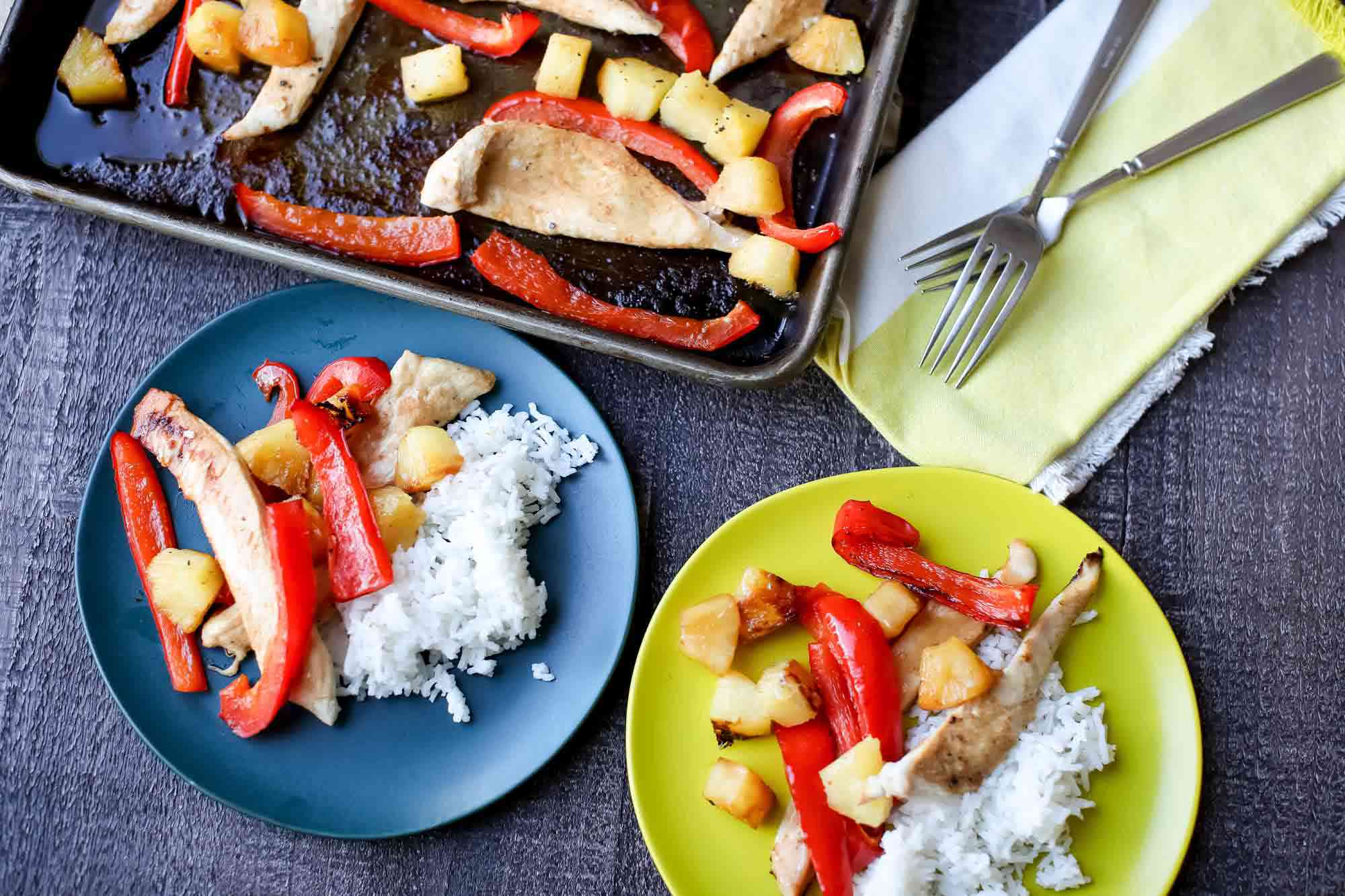 Chicken with Peppers and Pineapple serve the chicken