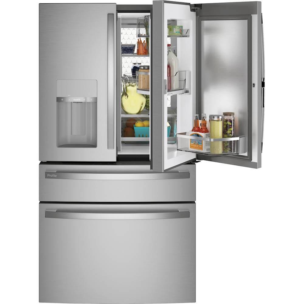 The GE Profile 27.9 cu. ft. Smart 4-Door French Door Refrigerator with Door in Door has a swiveling door bin for your convenience.