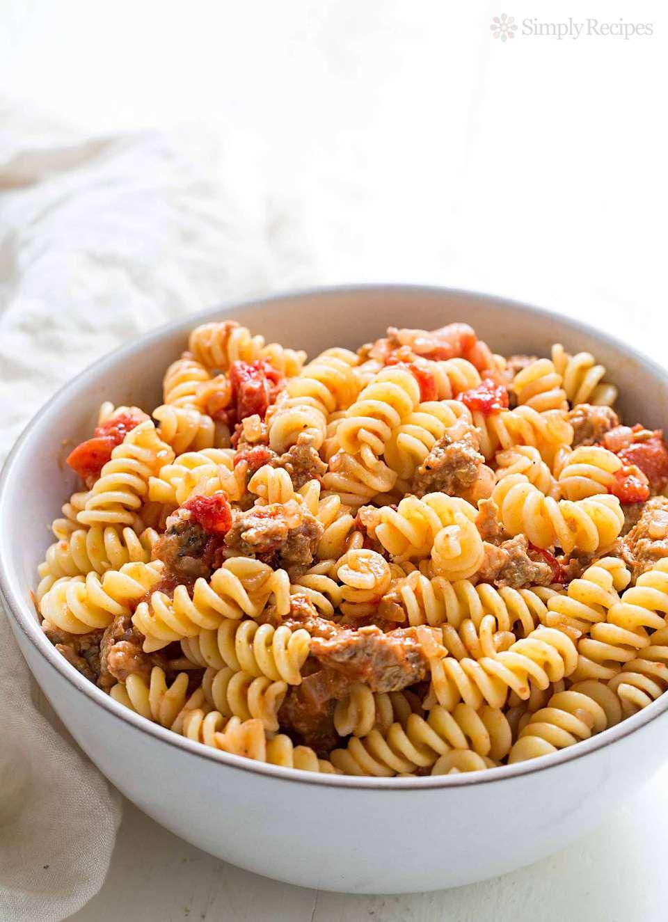 Pasta with Sausage and Smoked Mozzarella