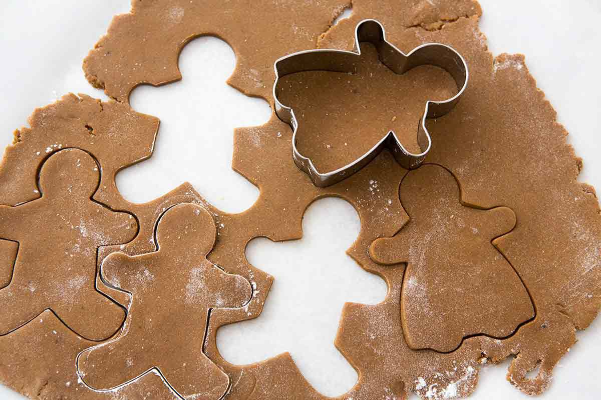 Gingerbread man cookie cutter with rolled Dough