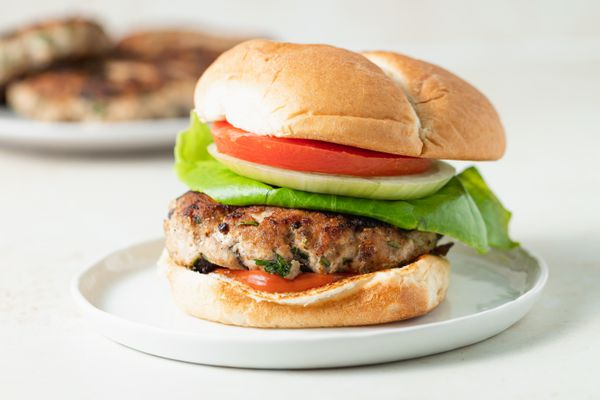Side view of a turkey burger.