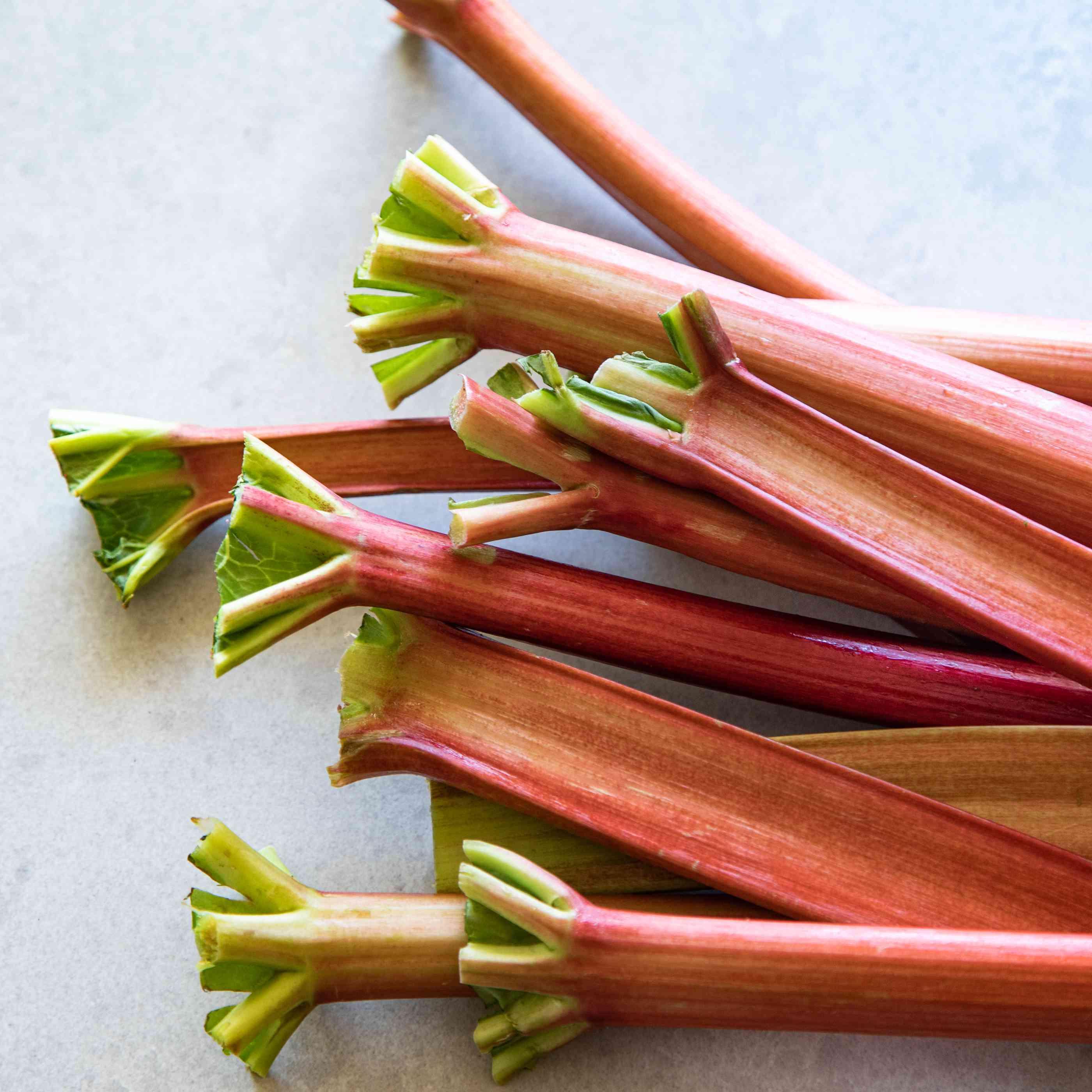 Green ends of rhubarb