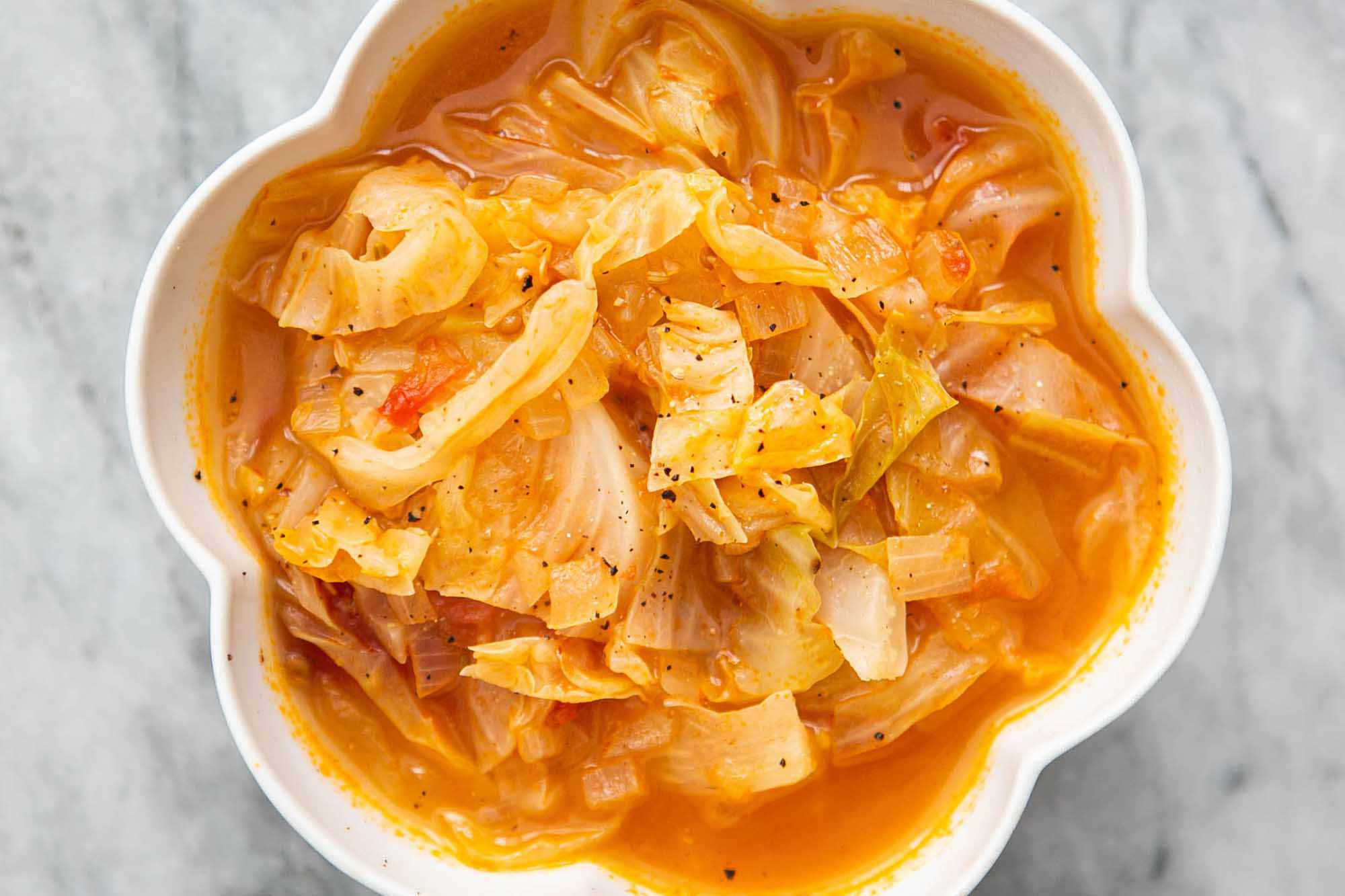 A bowl of easy cabbage soup