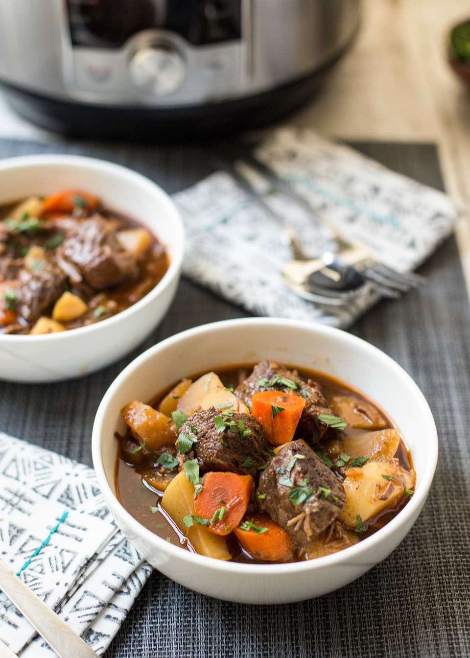 The Best Instant Pot Beef Stew served in white bowls