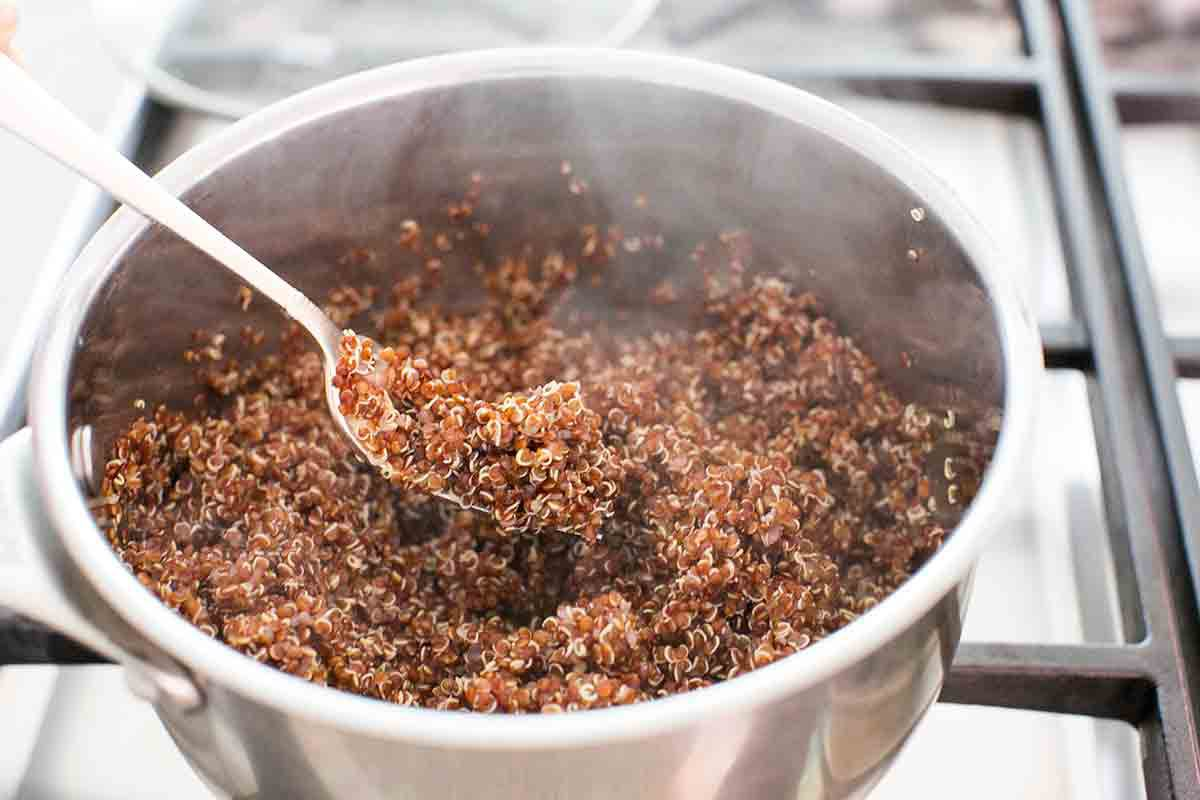 cooked quinoa in pot for salad