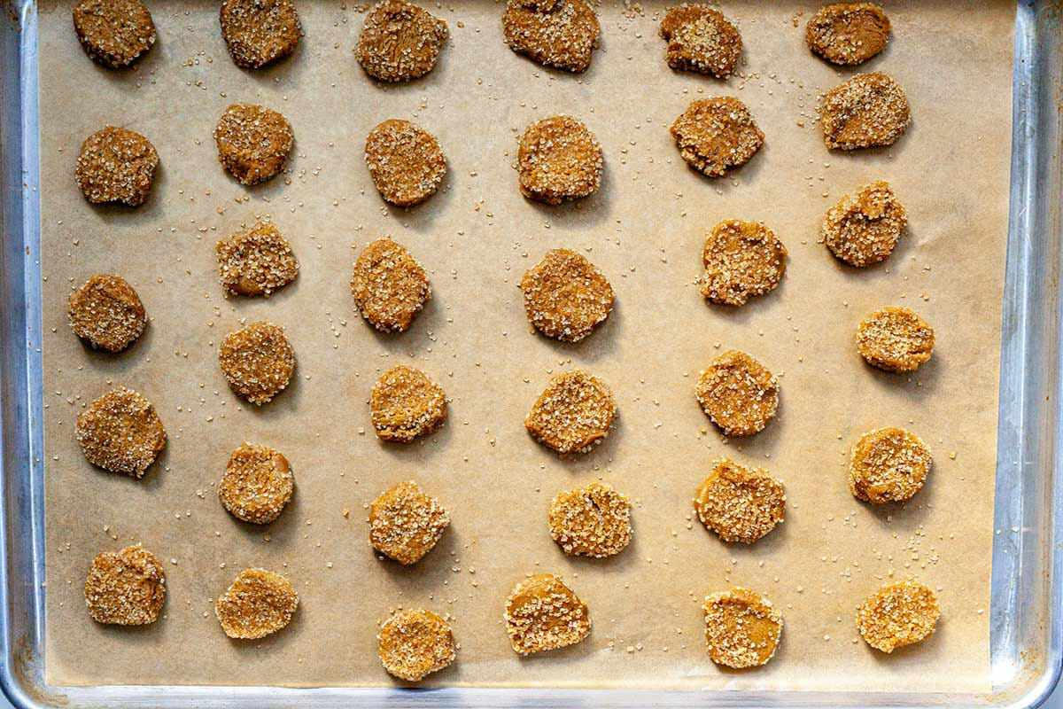 Overhead view of Easy Ginger Lemon Cookies on a baking sheet.