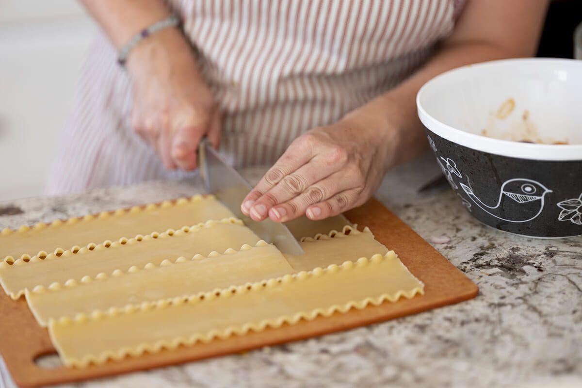 Summer vegetable lasagna recipe cut the noodles into thirds