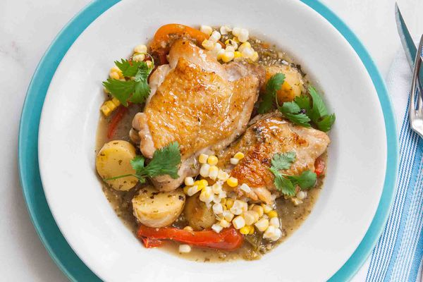 Tomatillo Chicken Stew with Potatoes and Corn