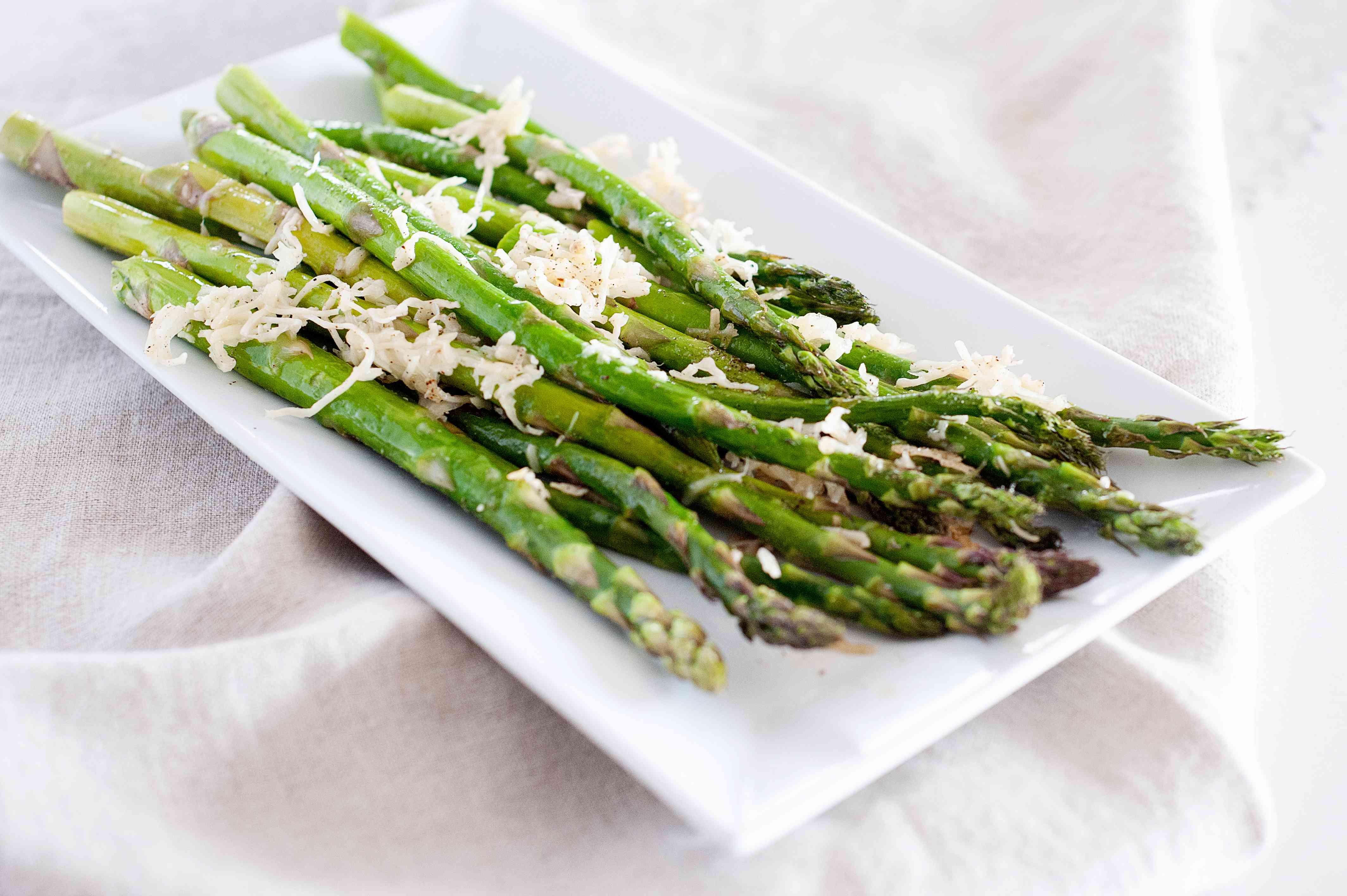 A platter of oven roasted asparagus.