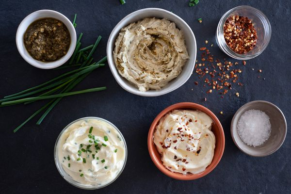 Bowls of herbed whipped butter