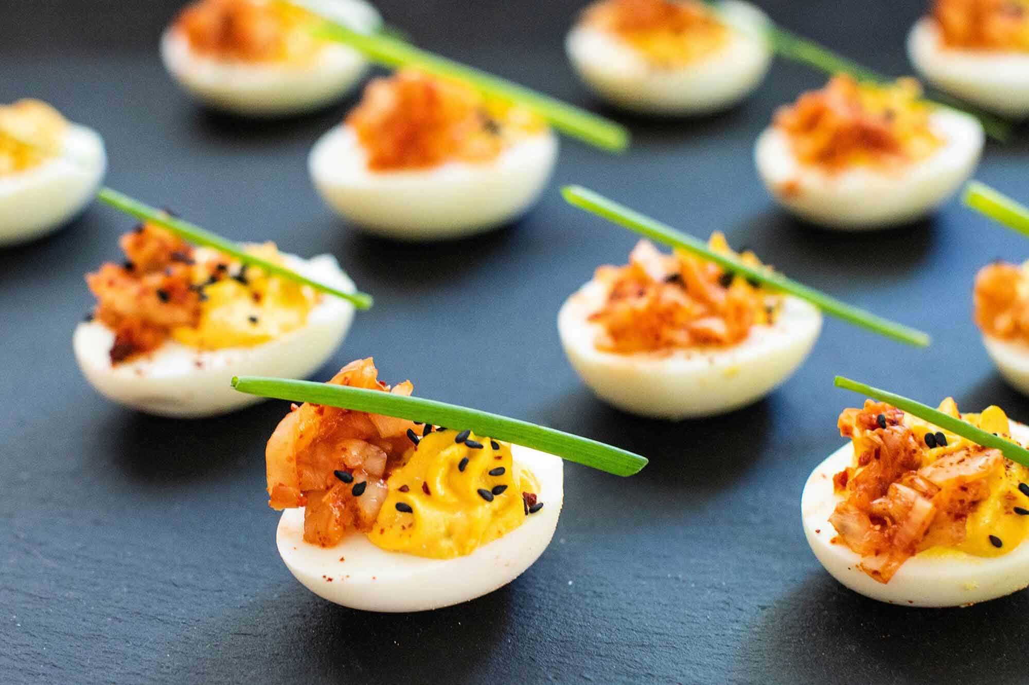 Deviled Egg Recipe with Kimchi serve the deviled eggs