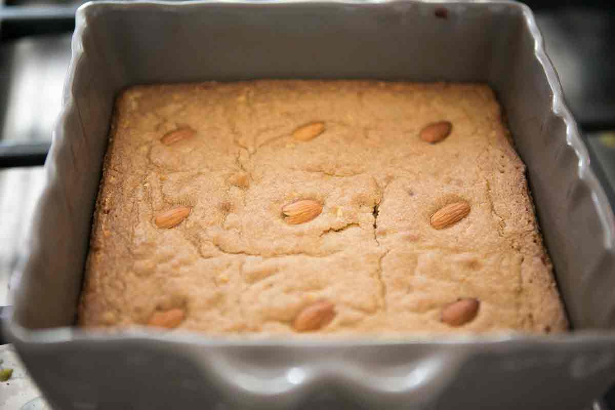 baked almond blondies