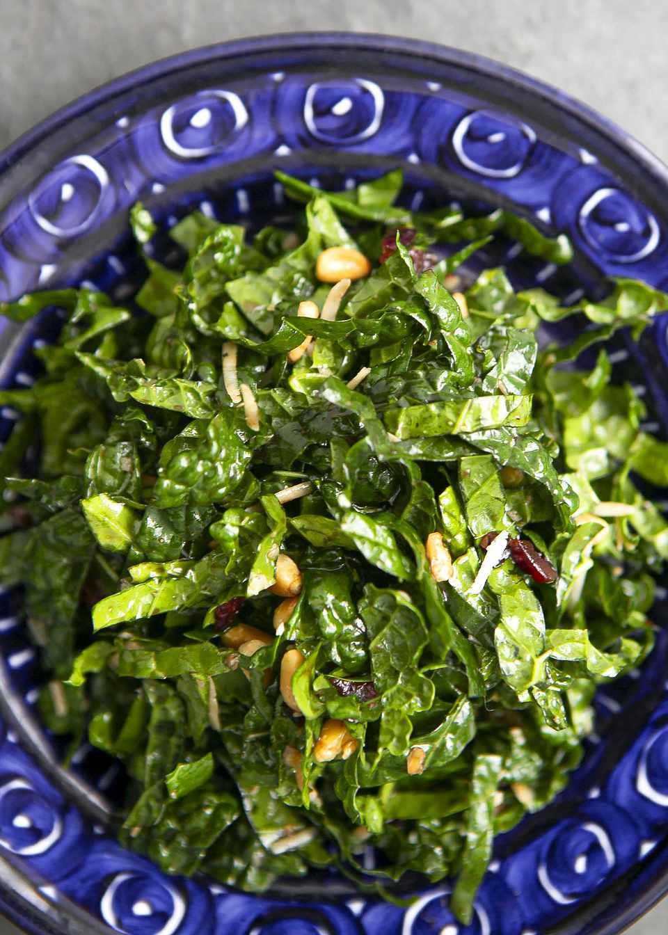 The best kale salad served in a blue bowl