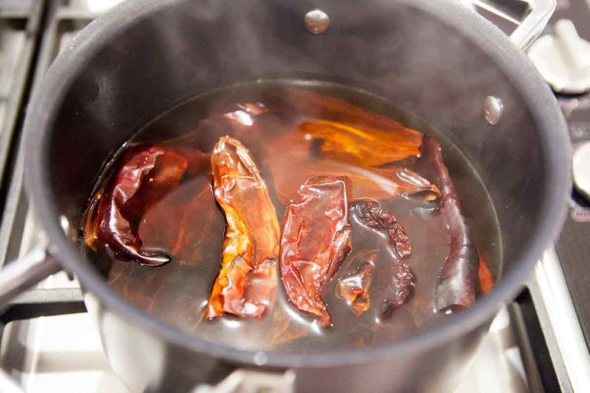 soak the red chilis in hot water for the best pozole