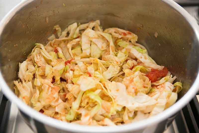 Making simple cabbage soup