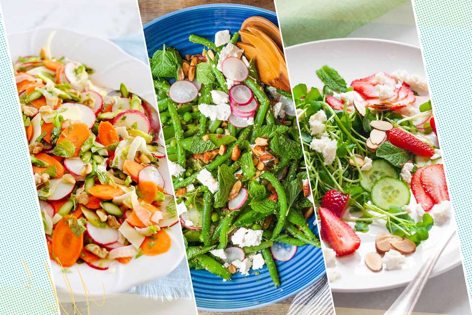 Three spring salads set side by side.