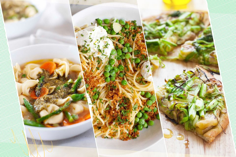 Three photos of spring vegetarian meals.