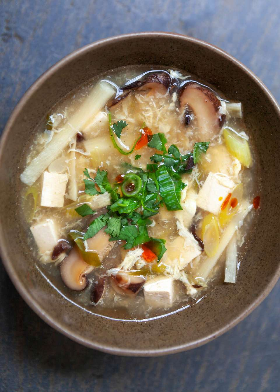 Hot and sour soup in a bowl.