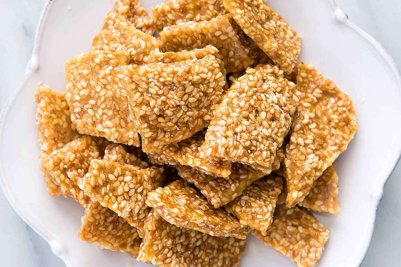 Sesame Brittle Recipe shown in a white bowl