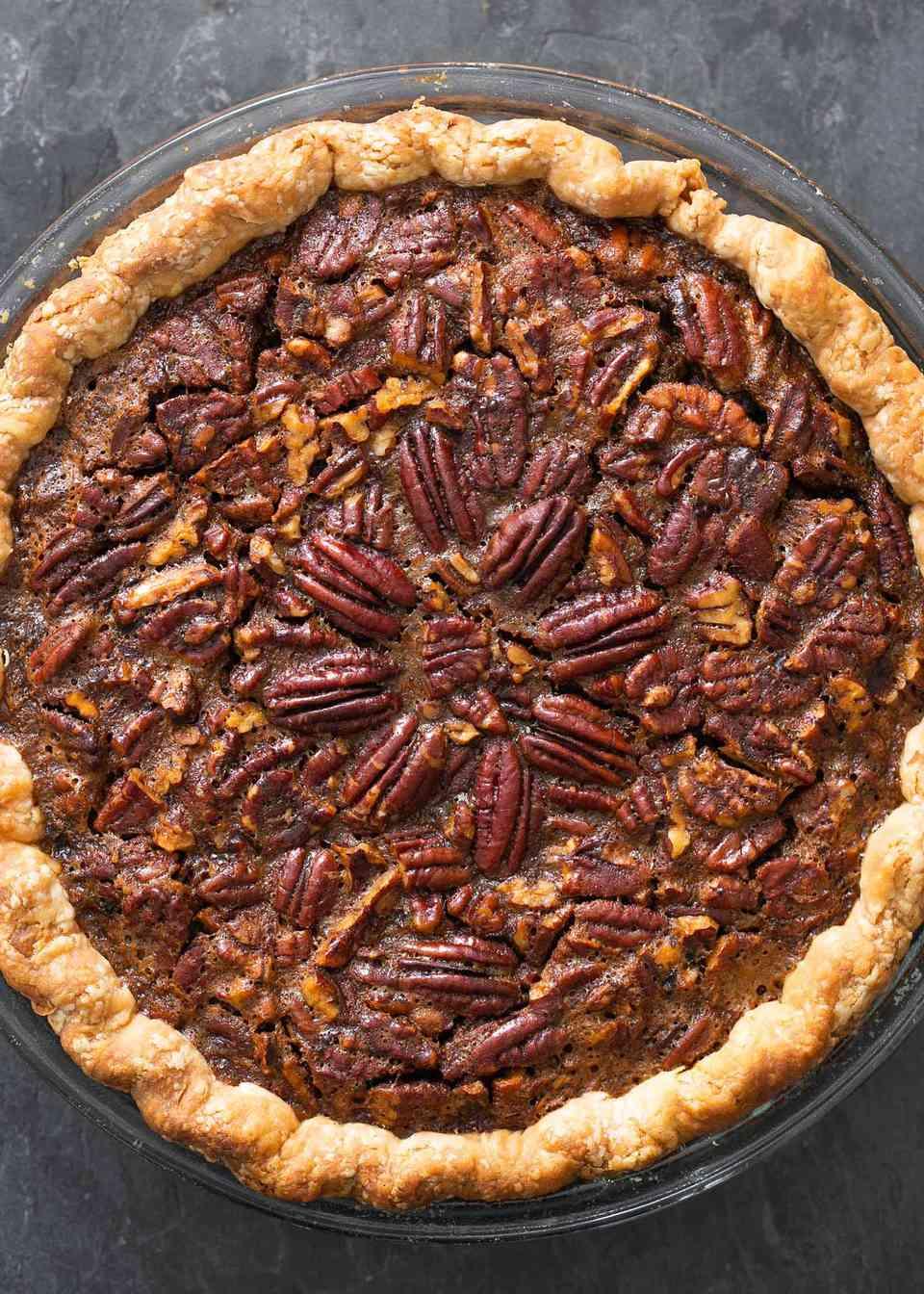 Overhead view of the best pecan pie.