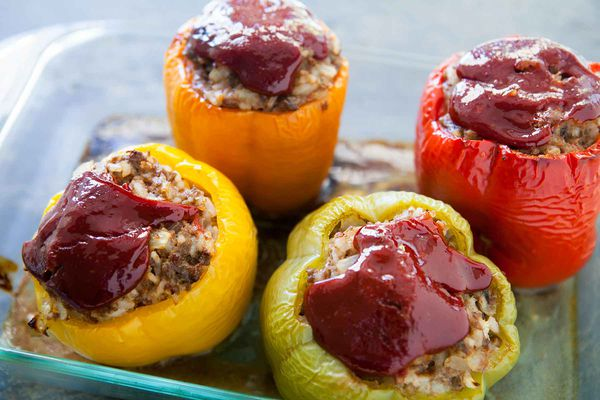 Easy Stuffed Peppers baked in a casserole dish