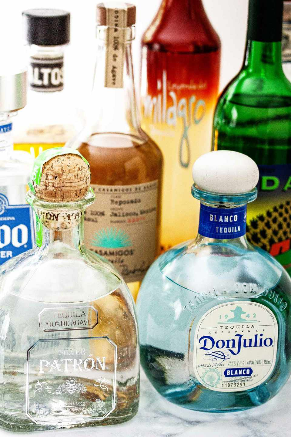 various types of tequila bottles