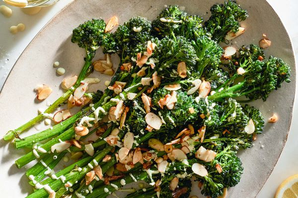 Roasted Broccolini with Creamy Mustard Sauce