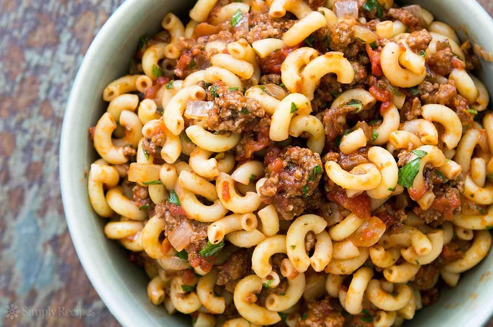 Hamburger and Macaroni in a bowl