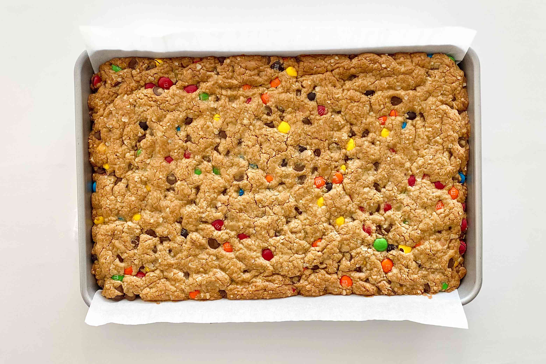 Gluten-Free Sheet Pan Monster Cookies baked in pan.