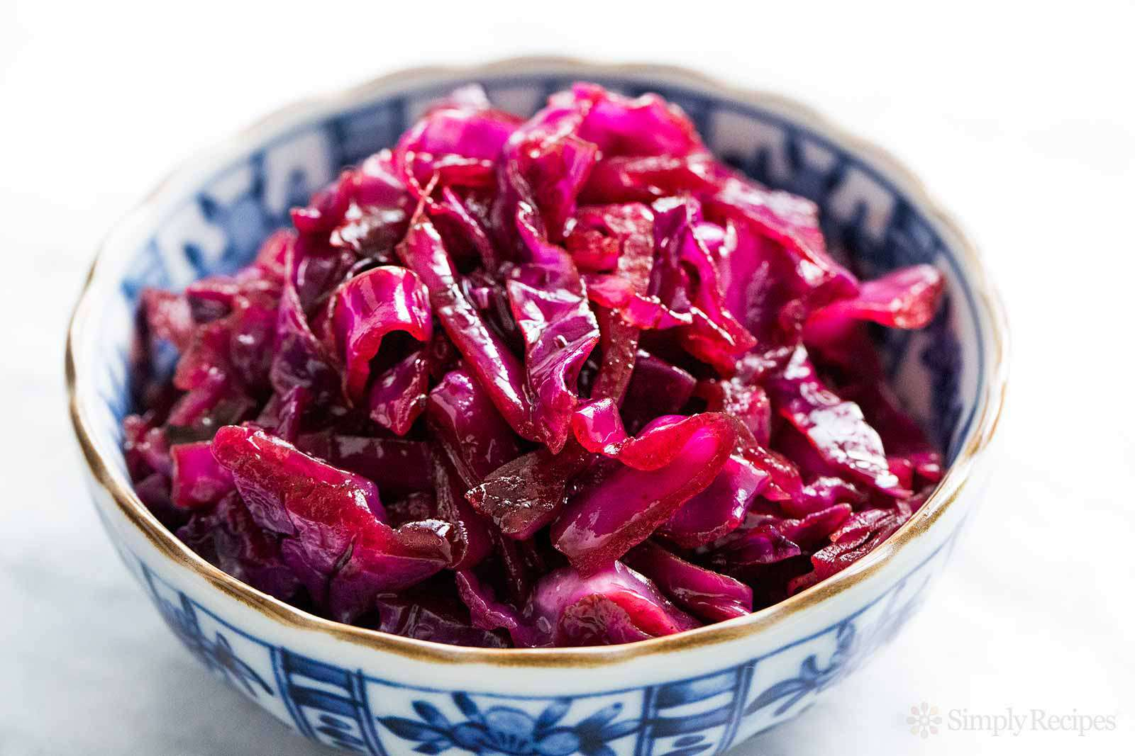 Stovetop Braised German Red Cabbage in a bowl