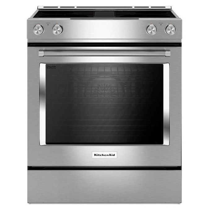 The KSEG950ESS 6.4 cu. ft. Downdraft Slide-In Electric Range has a self-cleaning convection oven.