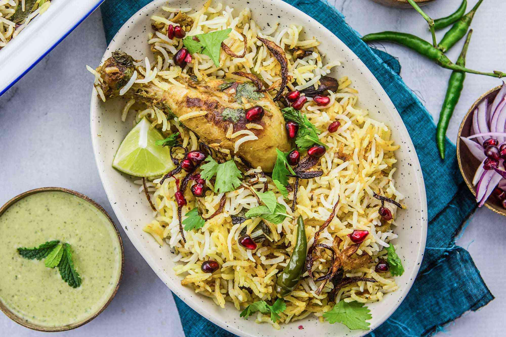 Easy Biryani with Chicken serve the biryani