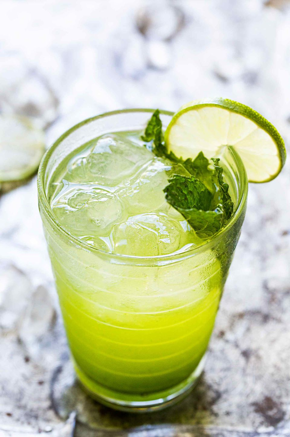 Fresh mojito with mint and lime served in a tall galss