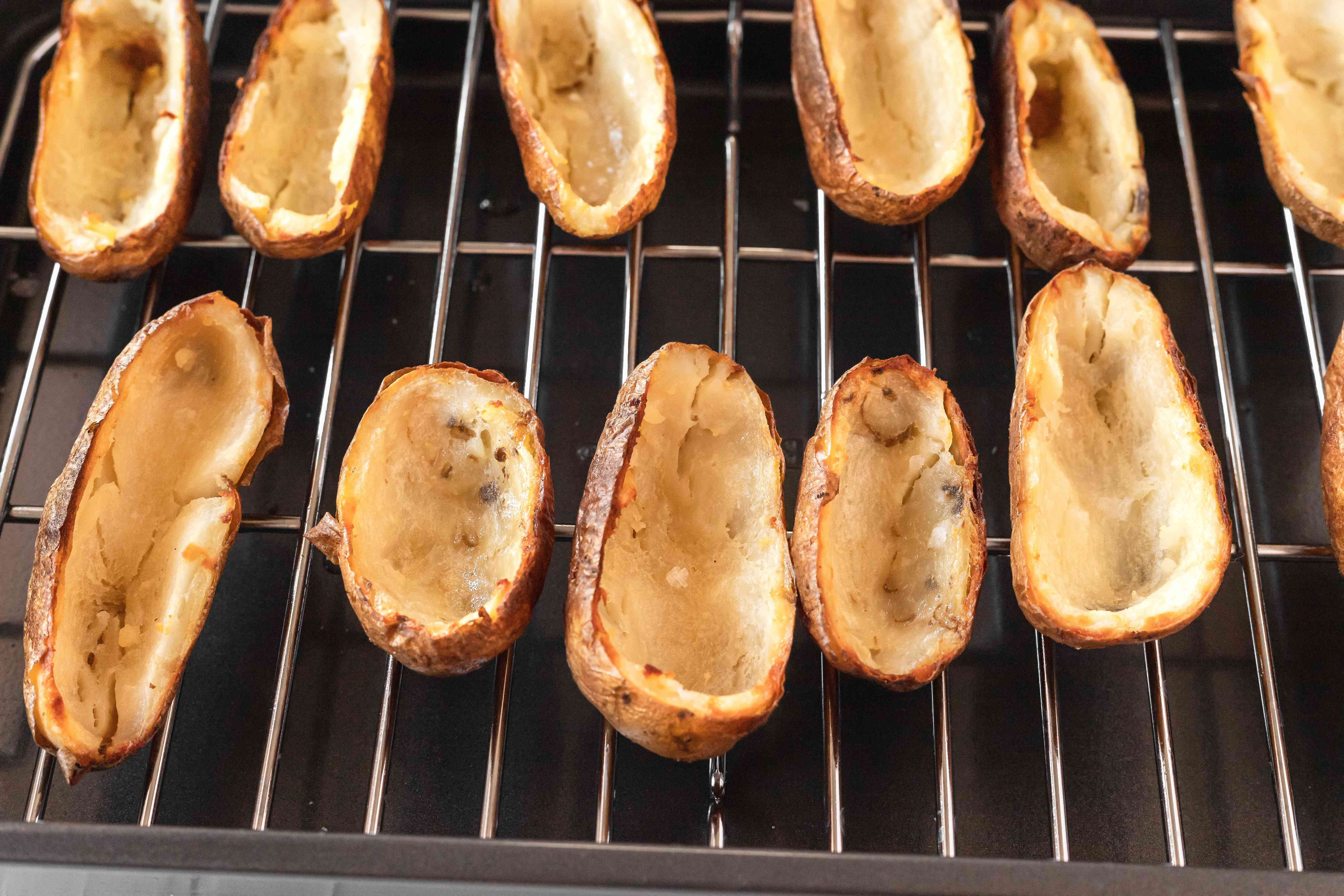 Potato skins baking in the oven.