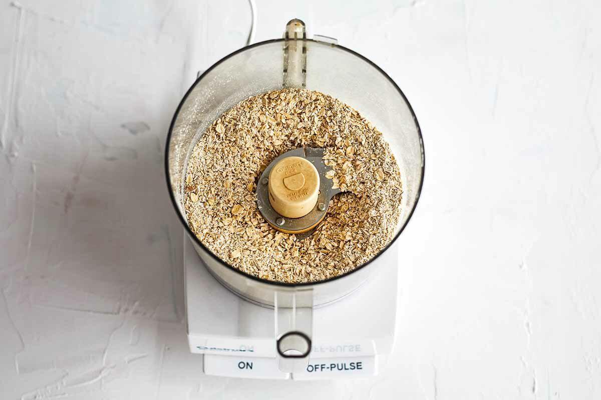 No Bake Peanut Butter Energy Balls process the oats