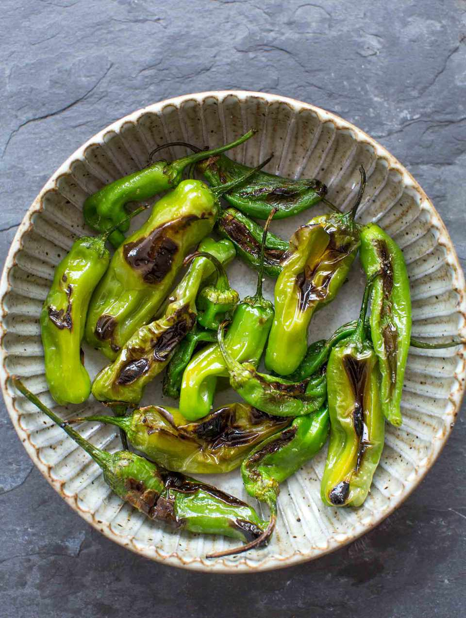 Blistered Shishito Peppers in a bowl