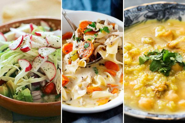 Three images side by side. On the left is Chicken Pozole topped with fresh cabbage and radishes. In the middle is Creamy Chicken Soup with noodles and carrots in a bowl. On the right is a bowl One-Pot Chicken and Rice Soup.