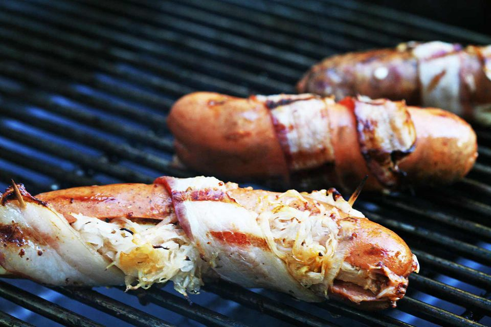 Bacon Wrapped Hot Dogs on the Grill