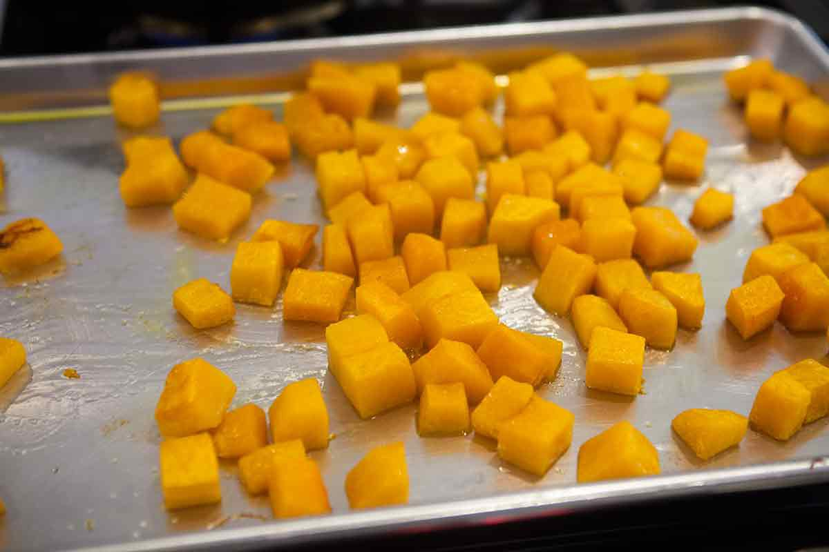 Cubed Butternut Squash On Baking Sheet