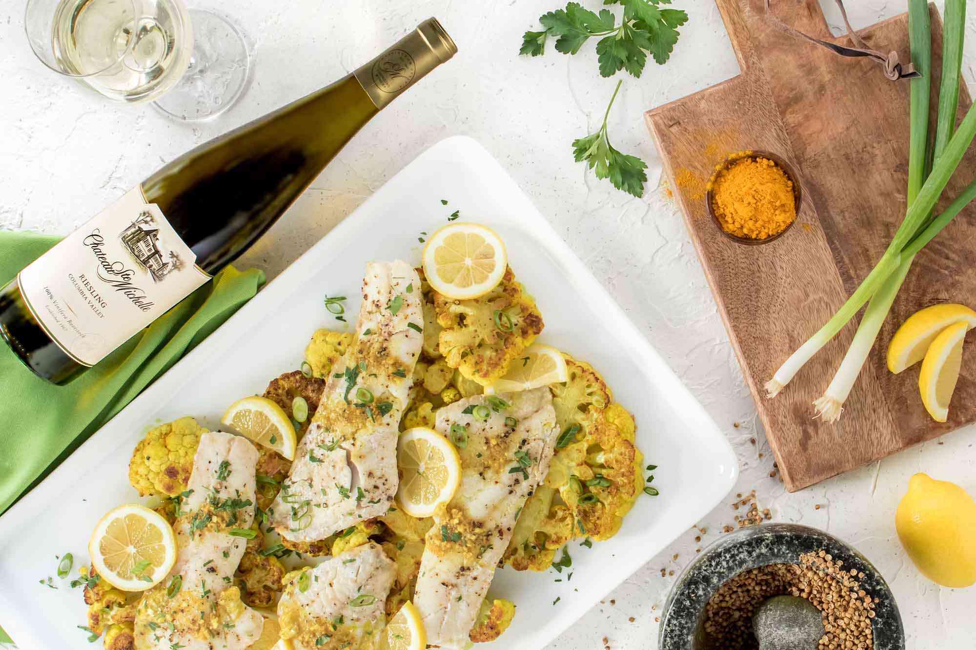 Rockfish with Turmeric Cauliflower Steaks